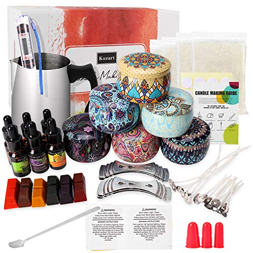 Kozart DIY Candle Making kit for Adults,Scented Candle Making Supplies Set Including Soy Wax,Fragrance Oil,Colors Candle Dye,Wicks,Tins,Melting Pot,Finger Protector and More
