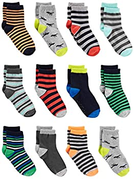 Simple Joys by Carter s Baby Boys  Toddler 12-Pack Sock Crew Stripe Dino 2T/3T