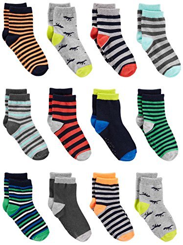 Simple Joys by Carter's Baby and bebé - Calcetines para niño (12 unidades), Stripe, Dino, 4t/5t