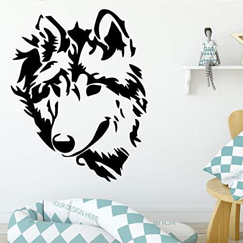 Wolf Tier Wandaufkleber für Kinderzimmer Wohnzimmer Tier Aufkleber Home Decoration Nordic Style Home Weiß M 30cm X 37cm