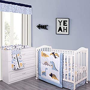 MP+NJ Blue White Dino Crib Bedding Set for Boys or Girls- Soft 6 Piece Toddler Nursery Set – Quilt, Fitted Sheet, Bed Skirt, Diaper Stacker, Changed Pad Cover and Valance
