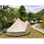 Beige Cotton Canvas, Waterproof PU Coating Bell Tent yurt Tent with a Zipper for Family Camping or Extended Camping Trip reconstruct Houses 6