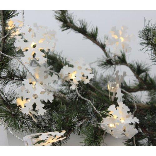 Papier Kette weiß Schneeflocke Christmas Lights 20LED Leuchtmittel batteriebetrieben