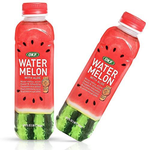 OKF Wassermelone mit Aloe Vera Getränk, süß und erfrischend, mit Kau-Aloe hinzugefügt. Echter Wassermelonensaft und echtes Aloe Vera Gel hinzugefügt, 45 ml (Wassermelone, 20 Stück)