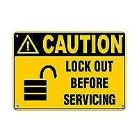 注意整備する前にロックアウトする 金属板ブリキ看板警告サイン注意サイン表示パネル情報サイン金属安全サイン