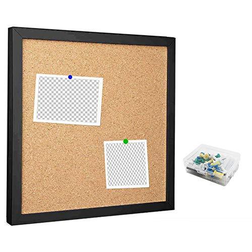 Corkboards para pared, tablón de anuncios para paredes con marco de corcho de 12 x 30 cm de grosor, azulejos de corcho enmarcados pequeños para oficina, escuela, decoración de vacaciones (negro, 1212)
