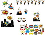 Serves 30   Complete Party Pack   Super Hero Theme   Birthday Party Hats   Eye Masks   Blowouts   Treat Bags   20 DIY Photoprops   14 Swirls   2 Pennant Banners   Backdrop   Ideal for Superhero Theme Birthday party