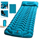 Camping Sleeping Pad,SUPIPRO 2021 Newest Inflatable with Foot Press Sleeping Mat Pillow, Large Size 4'-Thick, Portable Waterproof and Compact Air Mat for Camping,Hiking,Beach