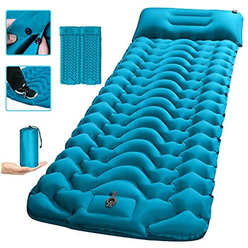 """Camping Sleeping Pad,SUPIPRO 2021 Newest Inflatable with Foot Press Sleeping pad Pillow, Large Size 4""""-Thick, Portable Waterproof and Compact Air Mattress for Camping,Hiking,Beach"""