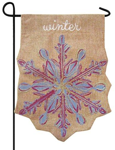 Snowflake Winter Embellished Shaped Burlap Garden Flag