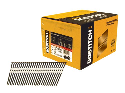 BOSTITCH Framing Nails, Round Head, 21-Degree, Plastic Collated, 3-1/2-Inch x 1/8-Inch, 4000-Pack (RH-S16D131EP)