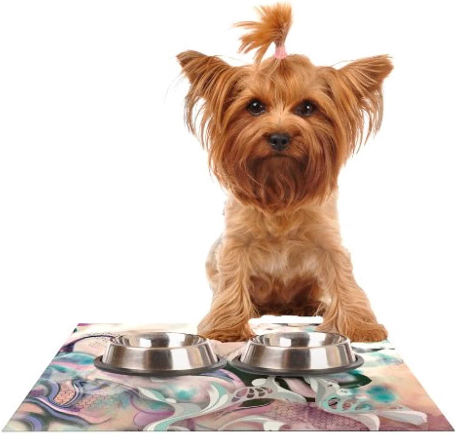 Kess InHouse Mat Miller Fluidity  Feeding Mat for Pet Bowl, 24 by 15Inch