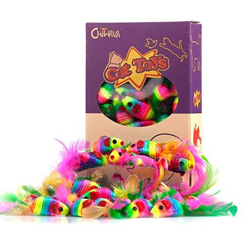 Chiwava 24 Stück 12,5 cm Rassel Katzenspielzeug Maus Regenbogen Seil Mäuse mit Feder Kätzchen Interaktives Spielzeug Sortierte Farbe
