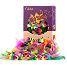 """Chiwava 24PCS 5"""" Rattle Cat Toys Mice with Feather Rainbow Rope Mouse Kitten Interactive Toy Assorted Color"""