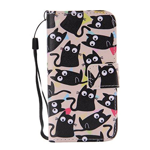 ISAKEN Kompatibel mit Galaxy S5 Mini Hülle, PU Leder Flip Cover Brieftasche Geldbörse Handyhülle Tasche Hülle Schutzhülle mit Handschlaufe Standfunktion für Samsung Galaxy S5 Mini - Katze Schwarze