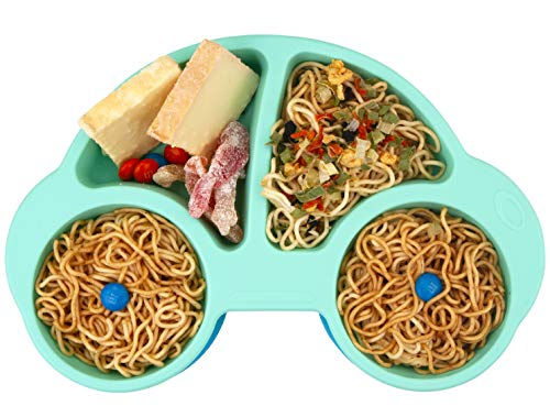 Silicone Divided Toddler Plates - Portable Non Slip Suction Plates for Children Babies and Kids BPA Free Baby Dinner Plate (Car-Cyan New)
