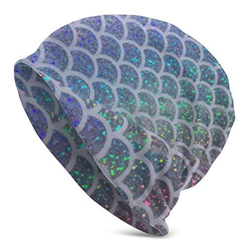 XCNGG Sombreros Gorras Skullies Gorros Men's Knit Beanie Hat Shining Colorful Fish Scales Skull Cap Skiing Comfortable Warm Beanie Hat for Women Men Black