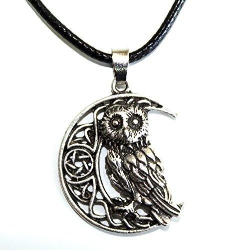 Collar con colgante de búho, luna astra, celta, vikingo, regalo original para mujer, hombre y adolescente