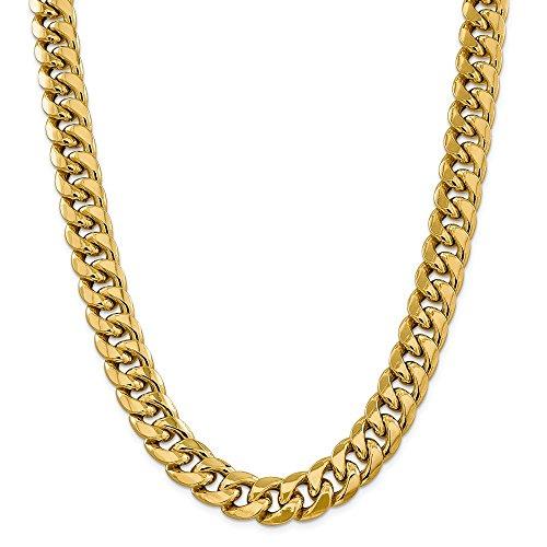 Collana in oro giallo 14 kt, 15 mm, semi solida, catena cubana da 66 cm, per uomo e donna