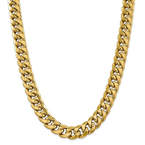 Mia Diamonds 14k Yellow Gold 15mm Semi-Solid Miami Cuban Chain Necklace