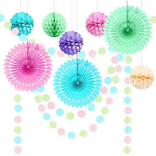 Cheerland Pastels Party Decoration Kit Pink Mint Blue Macaron Hanging Polka Dots Garland Paper Pompom Fan Flower for Easter/Spring Wedding/Unicorn Party