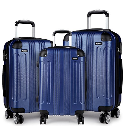 Kono 3pcs Luggage Set Hard Shell Suitcase Lightweight ABS 4 Wheels Spinner Business Trip Trolley Case 20' 24' 28' (Navy Set)
