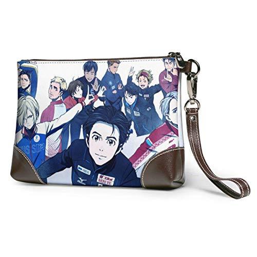 bolso de mano de cuero para mujer Anime YURI !!! En ICE Bolso de mano de cuero para mujeres y hombres Pulsera de cuero suave con cremallera de cuero y metal de primera calidad