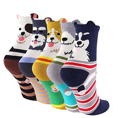 LHZY Womens Girls Socks 5 Pack, Divertidos perros de mascota Cute dibujo de dibujos animados de dibujos animados, algodón cómodo Mezcla piso calcetines Reino Unido 4-7 / EU 35-41
