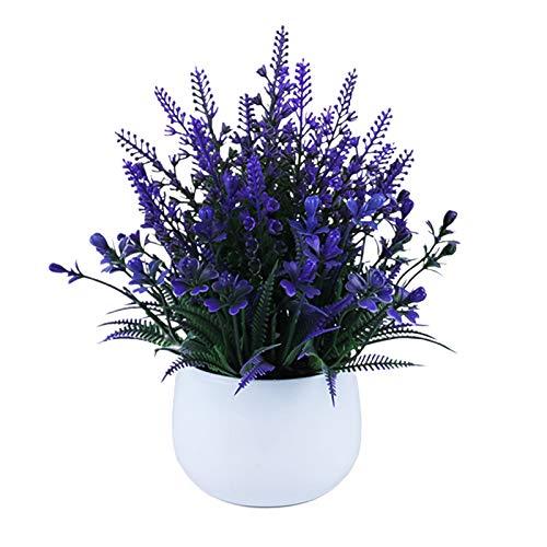 GRASARY Flores artificiales de imitación de bonsái de lavanda, decoración para el hogar, decoración de boda, llena de vitalidad, buenos recuerdos, color morado