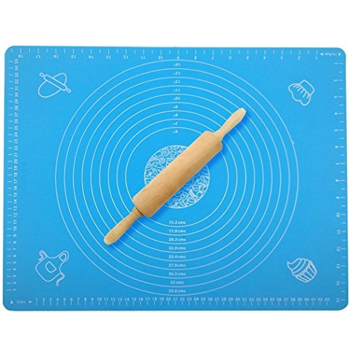 "Xubox Non-Stick Silicone Pastry Mat, Reusable 19.7"" x 15.7"" Extra Large Pastry Mat with Measurements and Rolling Pin, Heat Resistance Baking Sheet Oven Liner for Kneading, Rolling and Baking, Blue"
