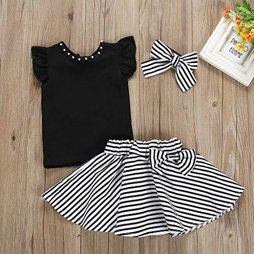 Elyseeseny - Conjunto de 2 piezas de camiseta con cuello perlado y mangas volantadas + falda a rayas + diadema – Moderno chica verano 2019 Negro  12-18 Meses