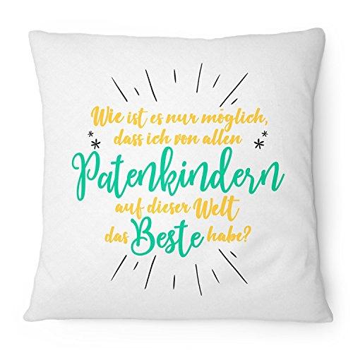 Fashionalarm Kissen Bestes Patenkind auf dieser Welt - 40x40 cm mit Füllung | Geburtstag Geschenk Idee für Patentante Patenonkel Tauf Pate Taufe, Farbe:weiß