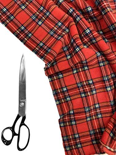 Premium kwaliteit | Bedrukte Anti Pill Polar Fleece | Zachte warme stof | PF02 | van FABRIQUES 1 Meter Rode Schotse ruit