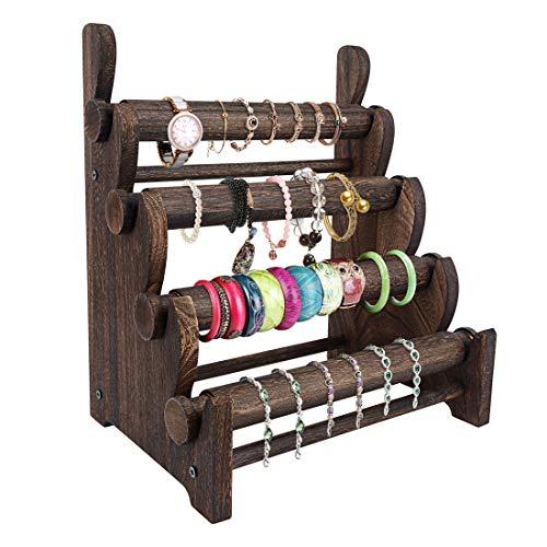 TOPNEW 4 Tier Wooden Bracelet Holder, Bangle Watch Necklace Display Storage Jewelry Holder Stand Display Organizer, Brown