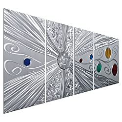 Pure Art Silver Solstice - Metal Wall Art Decor - Abstract Modern Space Silver with Red, Yellow, Green and Blue Circles, Hanging Sculpture - Set of 5 Panels for Your Home or Office - 64 x 24