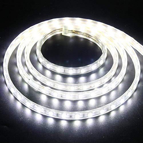XUNATA 2m Strisce LED 220V e alimentatore, 5050 60LED/m, IP65 Impermeabile, Flessibile Striscia a LED per Scaletta Tetto Cavi da Cucina Decorazione- Bianco