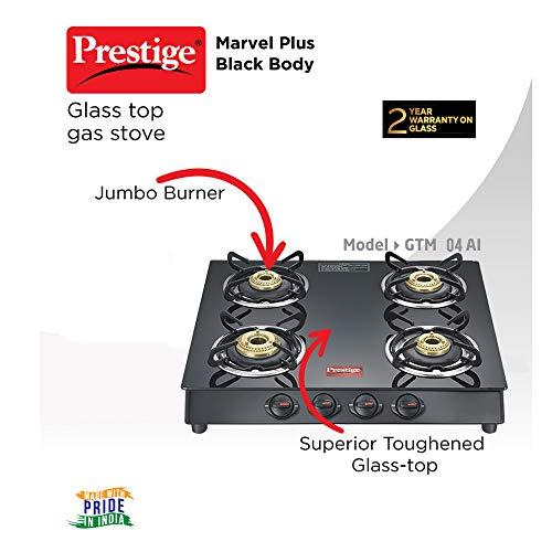 Prestige Marvel Plus 4 Burner Glass Top Gas Stove, GTM 04, Black, Manual
