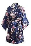 OLESILK Damen Kurz Morgenmantel Satin Kimono Morgenrock Kurzarm Robe Bademantel mit Gürtel V-Ausschnitt Nachtwäsche Negligee mit Kirschblüte Muster, Marineblau