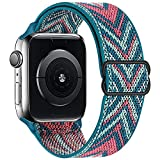 OHCBOOGIE Stretchy Solo Loop Strap Compatible with Apple Watch Bands 38mm 40mm ,Adjustable Stretch Braided Elastics Weave Nylon Women Men Wristband Compatible with iWatch Series 6/5/4/3/2/1 SE