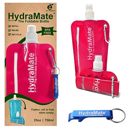 HydraMate Botella DE Agua Plegable – Libre DE BPA. 750ml. Botella Plegable, Ligera, Suave, Compresible, Ecológica, para Viajar. Tapón Deportivo, Y Tapa De Higiénica. Clip de Mosquetón.