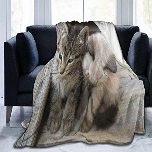 N \ A Manta de microforro polar ultrasuave, diseño de gato, leopardo, bozal salvaje, decoración del hogar, cálida manta para sofá cama, 20 x 60 pulgadas