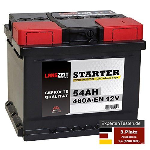 LANGZEIT Autobatterie 12V 54Ah ersetzt 44AH 45AH 46AH 50AH 52AH 53AH 55AH Starterbatterie KFZ PKW Batterie