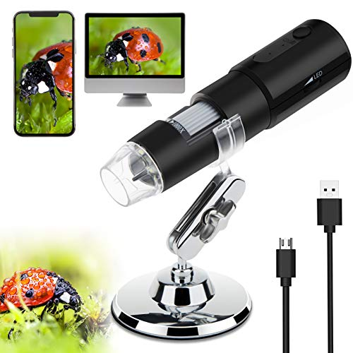 Purada Wireless Digital Microscope,WiFi Handheld USB Microscope 50X to 1000X Zoom Magnification Endoscope Camera with Stand,8 LED Portable Mini Pocket Microscope Camera for Android iOS Phone/Tablet/PC