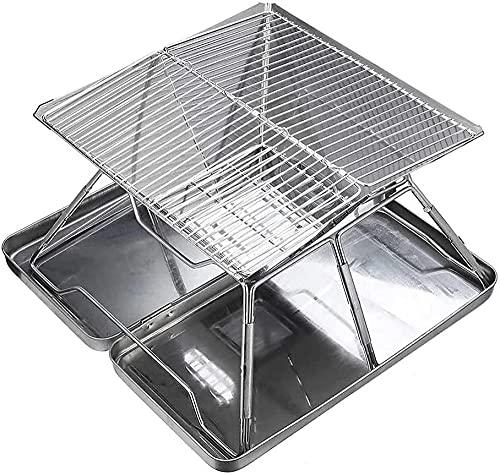 Parrilla plegable para fogata, parrilla de estufa portátil, estufa de leña al aire libre, con parrilla para cocinar al aire libre con llama abierta