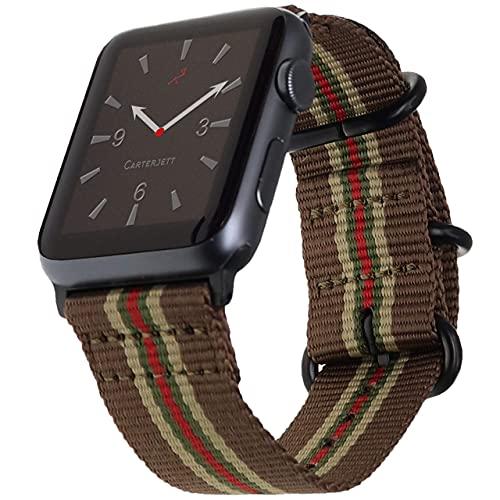 Compatible con Apple Watch Band 42 mm 44 mm Nylon Oliva iWatch Bandas Correa de repuesto Hebilla de estilo militar para Series 6 & SE Series 5 4 3 2 1