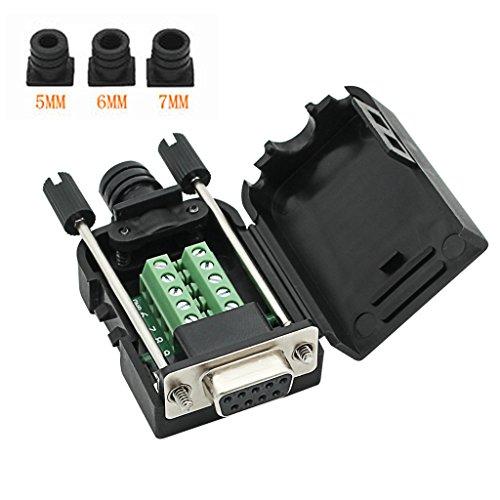 YIOVVOM DB9 9-poliger Adapter RS232 Seriell auf 3-poliger Terminalstecker mit Gehäuse (Female Connector)