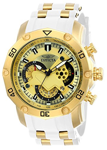 Invicta Men's Pro Diver Stainless Steel Quartz Watch with Silicone Strap, White, 26 (Model: 23424)