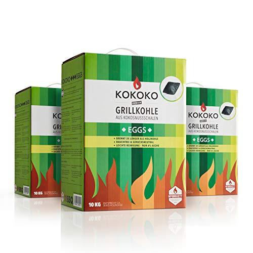 McBrikett KOKOKO EGGS 30kg Set | Premium Kokos-Grillkohle 3 x 10kg | Rauchfrei & top Hitze | Für alle Grills geeignet
