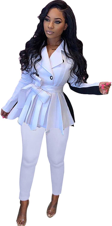 Women's Office Lady Business Suit Set Slim Fit Blazer Casual 2 Piece Outfit Long Pant