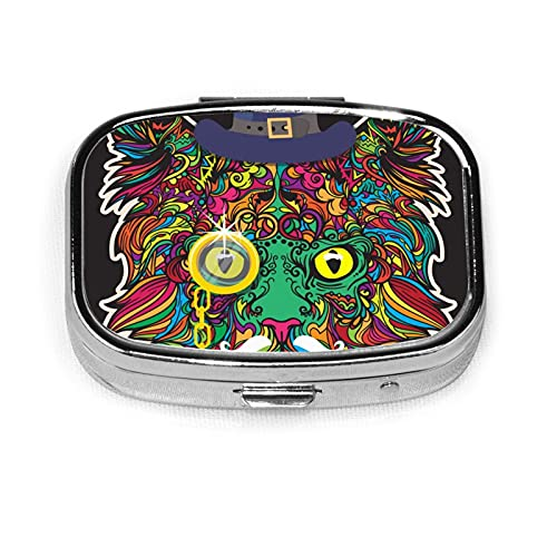 Coloring Face Of Cat With Hat Custom Fashion Silver Square Pill Box Medicine Tablet Holder Wallet Organizer Case For Pocket Or Purse Vitamin Organizer Holder Decorative Box